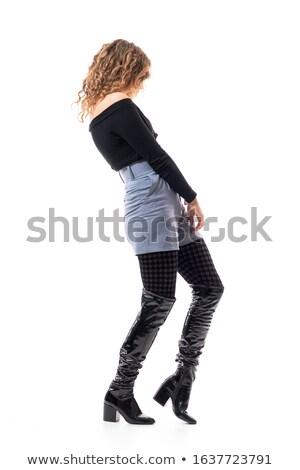 Vue de côté méconnaissable modèle jambes noir élevé Photo stock © julenochek