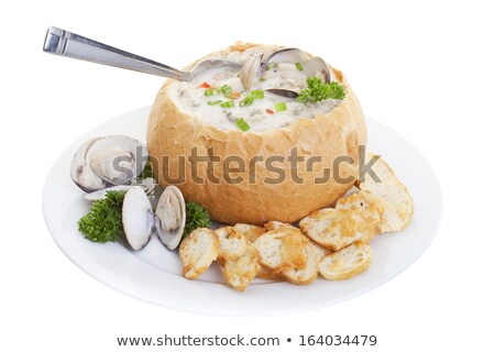 Hot aardappelsoep brood kom zure room cheddar Stockfoto © StephanieFrey
