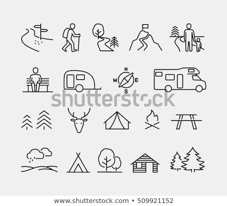Foto stock: Camping · linha · ícone · vetor · isolado · branco