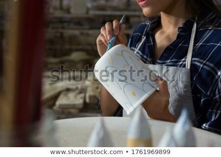 sanatçı · çanak · çömlek · biçim · yaratıcılık · dokunmak - stok fotoğraf © wavebreak_media