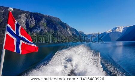 山 雲 ノルウェー 建物 フェリー ストックフォト © compuinfoto