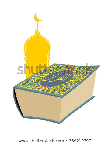 Quran. Sacred book of Muslims. Big thick book and mosque. Text o Stock photo © popaukropa
