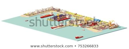 Seaport building isometric 3D element Stock photo © studioworkstock