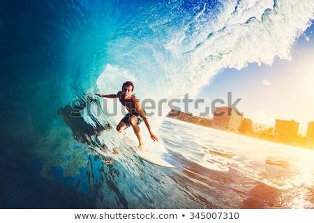 hombre · surf · ola · cielo · energía · aprendizaje - foto stock © is2