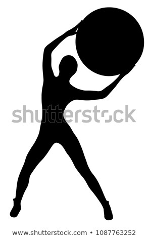 black silhouette of slim sports woman with big ball isolated on stock photo © nobilior