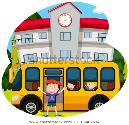Okul otobüsü örnek ağaç Bina saat Stok fotoğraf © bluering