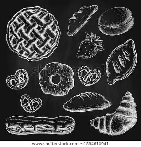 黒 黒板 クロワッサン 液果類 イチゴ ラズベリー ストックフォト © Melnyk