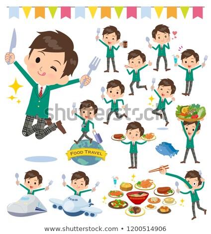 Iskolás fiú zöld fesztivál szett étel villa Stock fotó © toyotoyo