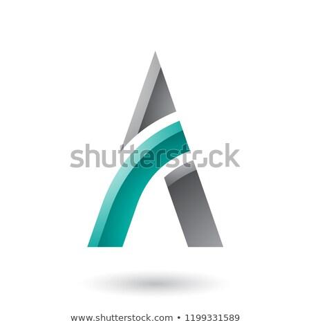 grijs · groene · brief · vector · illustratie · geïsoleerd - stockfoto © cidepix