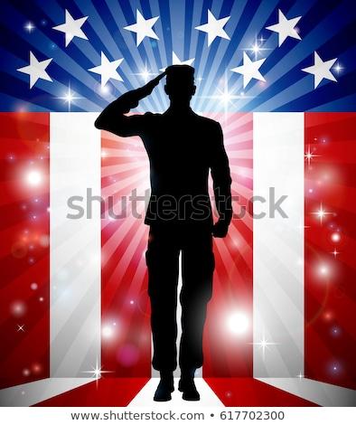 Silhueta homem soldado bandeira americana ilustração vermelho Foto stock © lenm