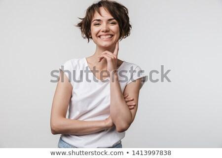 ストックフォト: 小さな · エレガントな · 女性 · 笑い · 立って · ポーズ