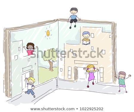 kinderen · boeken · kleine · groep · vergadering · meisje · kinderen - stockfoto © lenm