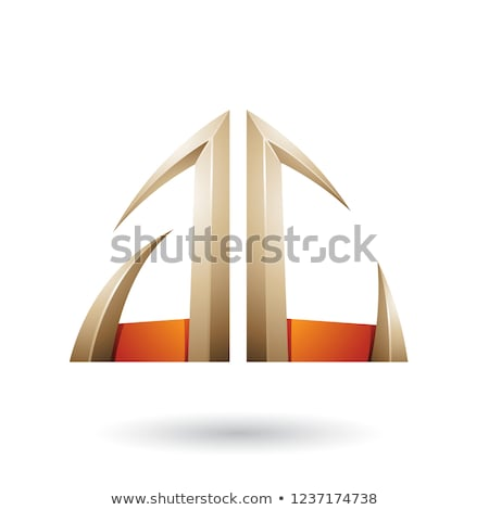 Beige and Orange Arrow Shaped A and C Letters Vector Illustratio Stock photo © cidepix