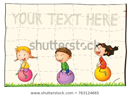 Paper background with kids on bouncing balls Stock photo © colematt