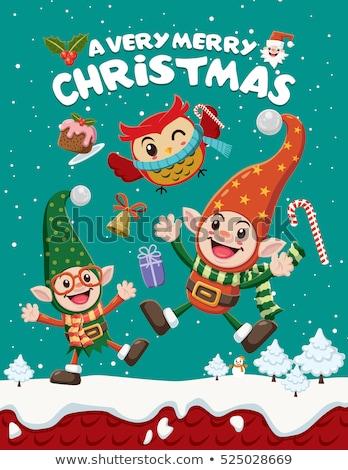 Karácsonyi üdvözlet sablon manó ajándékok illusztráció háttér Stock fotó © colematt
