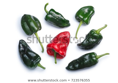 Ancho Poblano peppers, top view, paths Stock photo © maxsol7