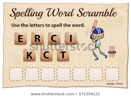 Spelling word scramble game template with cricket Stock photo © colematt