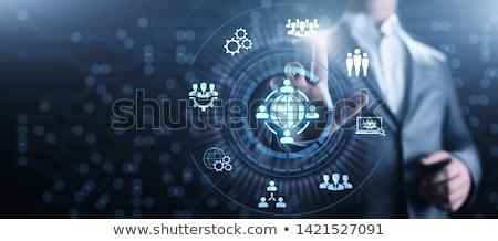 Outsourcing tekst moderne laptop scherm kantoor Stockfoto © Mazirama