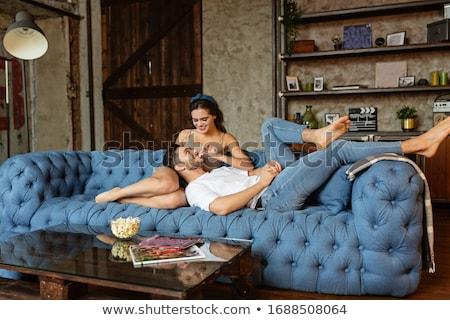 genç · güzel · kızlar · oturma · kanepe · hediye - stok fotoğraf © ruslanshramko