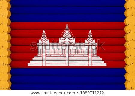 Huis vlag Cambodja rij witte huizen Stockfoto © MikhailMishchenko