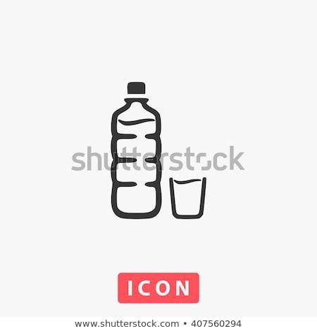 üveg víz tej egyszerű ikon izolált Stock fotó © kyryloff