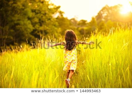 weinig · meisje · spelen · park · groen · blad - stockfoto © lopolo
