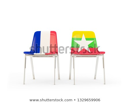 Two chairs with flags of France and myanmar Stock photo © MikhailMishchenko