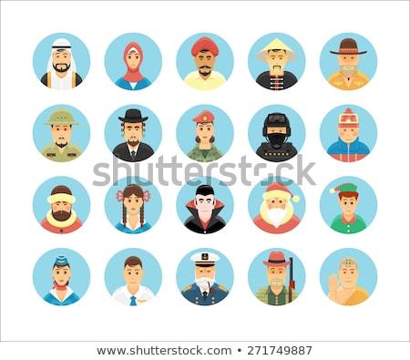 Homem mulher usuários ícone pessoas desenho animado Foto stock © NikoDzhi
