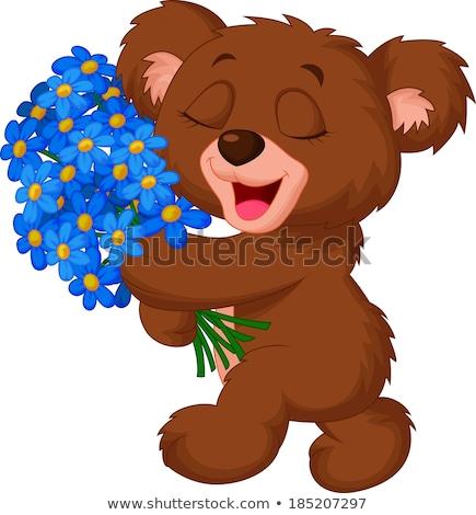 かわいい · クマ · 花 · 花 · 子供 · 草 - ストックフォト © liolle