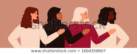 Nőnap kártya nő kezek társasági segítség Stock fotó © cienpies