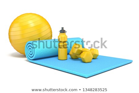 Exercise mat with weights, fitness ball and watter bottle 3D Stock photo © djmilic