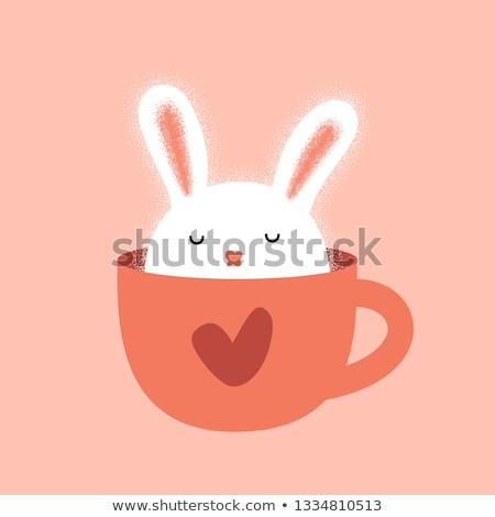 Clipart of Lovely Rabbits on Greeting Cards Stock photo © robuart