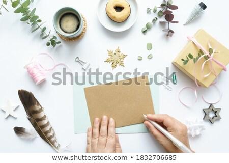 Stockfoto: Vrouw · hand · schrijven · dagboek · brief · nota