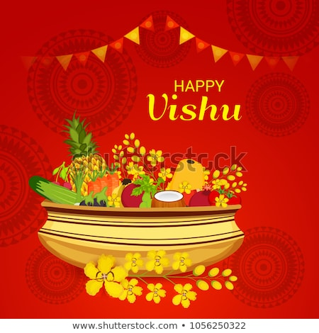 Happy Vishu new year Hindu festival celebrated in the Indian state of Kerala Foto d'archivio © vectomart