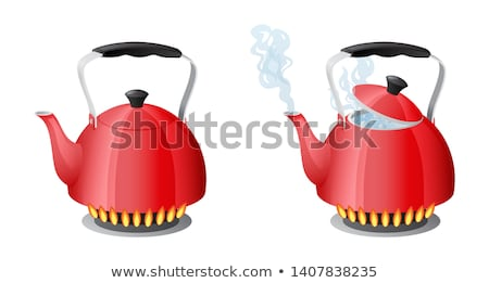 Red kettle with boiling water on kitchen stove flame Stock photo © MarySan