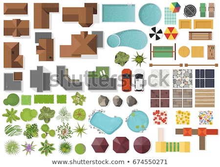 Set of bird eye view element Stock photo © bluering