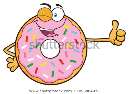 winking donut cartoon character with sprinkles giving a thumb up stock photo © hittoon