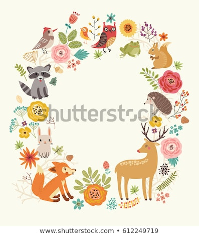 Set of isolated animals and kids with background scene Stock photo © bluering