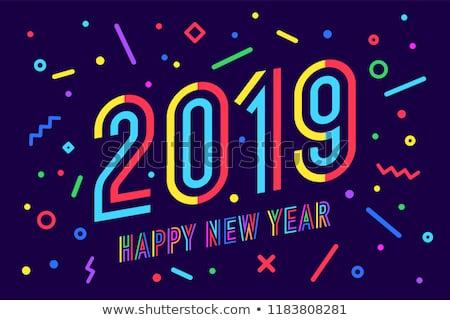 Gelukkig nieuwjaar wenskaart opschrift mode stijl vrolijk Stockfoto © FoxysGraphic