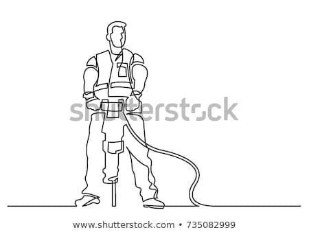 Travailleur de la construction ligne illustration portable outil marteau Photo stock © patrimonio