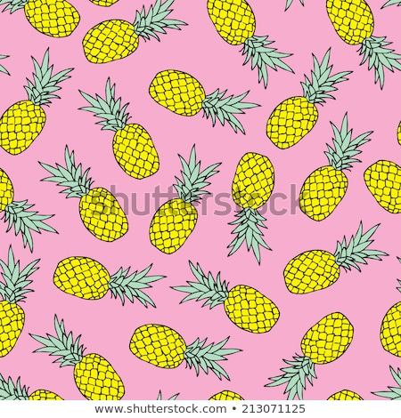 Pineapple icon. Tropical exotic fruit shape pattern. Pineapple hand drawn watercolor multicolored ve Stock photo © ESSL