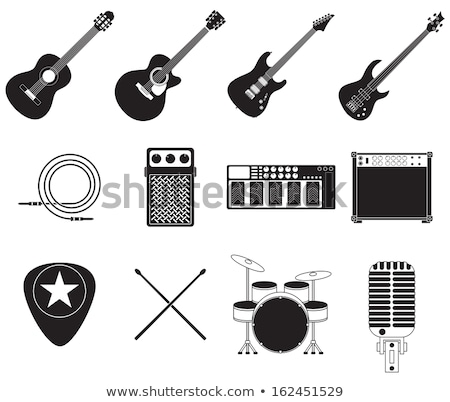 Mic and Guitar Musical Equipment, Concert Vector Stock photo © robuart