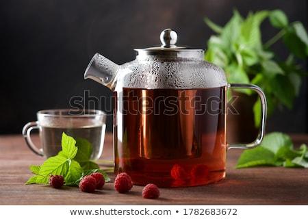 zöld · teáskanna · teáscsészék · kő · asztal · kilátás - stock fotó © karandaev
