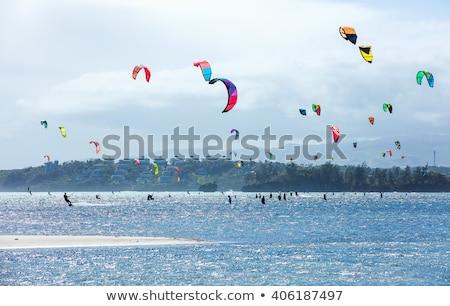 pipa · surfista · pôr · do · sol · ilustração · homem · vento - foto stock © galitskaya