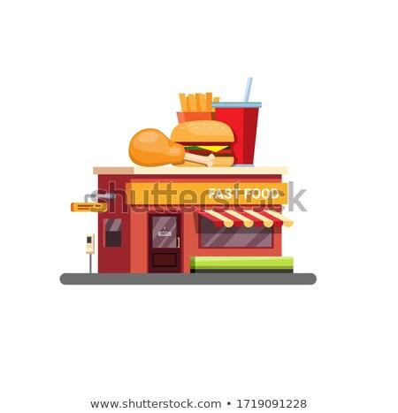 Stockfoto: Fastfood · restaurant · stedelijke · cafe · kip · vector