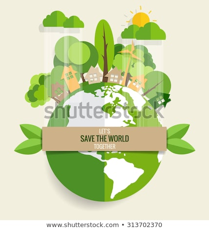 Environment Day banner of green cutout eco city Stock photo © cienpies