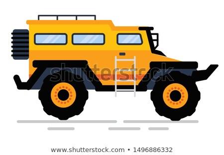 Autó nagy kerekek lépcsősor citromsárga suv Stock fotó © robuart