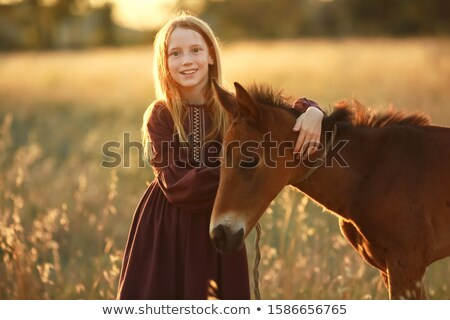 A farmer girl walks a horse in a yellow meadow Stock photo © ElenaBatkova