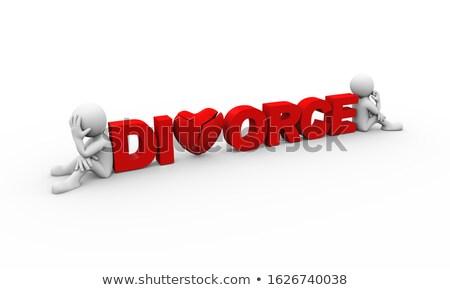 3d mensen spleet woord tekst echtscheiding 3d illustration Stockfoto © nasirkhan