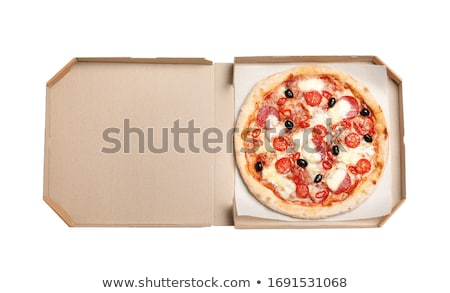 Delicious pepperoni pizza in the in delivery box Stock photo © dash